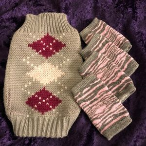 Dog sweater and leg warmers!